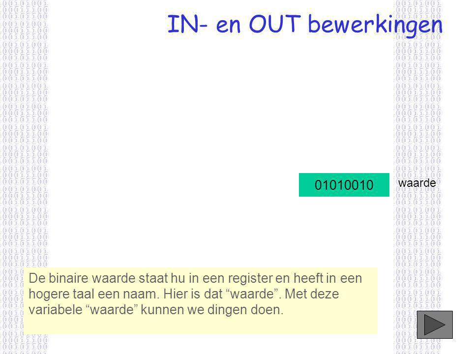 IN- en OUT bewerkingen De binaire waarde staat hu in een register en heeft in een hogere taal een naam.