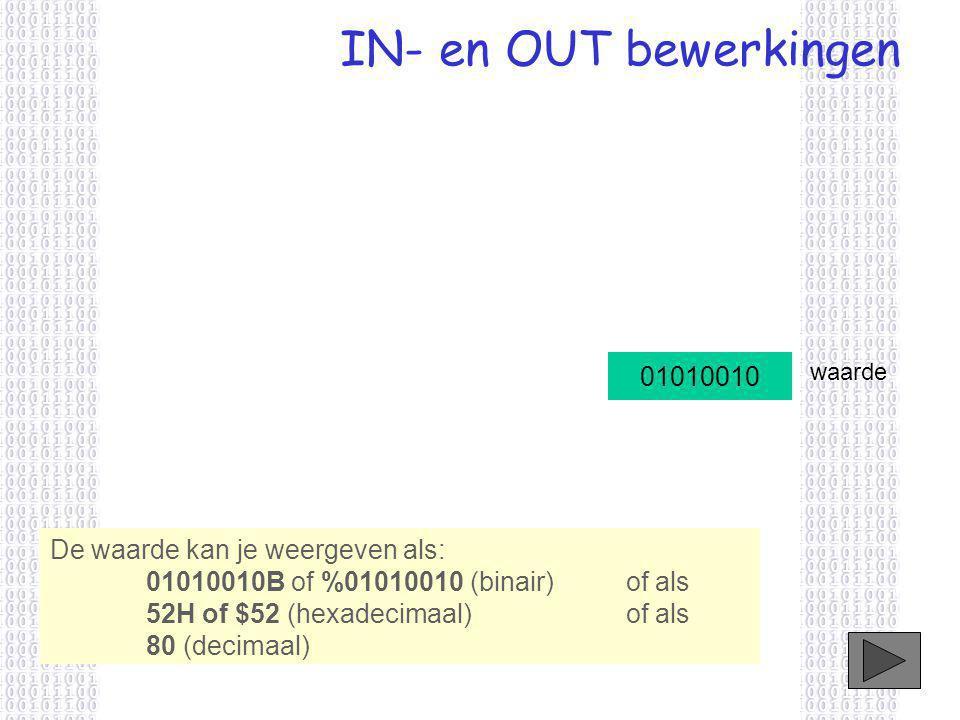 IN- en OUT bewerkingen De waarde kan je weergeven als: 01010010B of %01010010 (binair) of als 52H of $52 (hexadecimaal)of als 80 (decimaal) 01010010 waarde