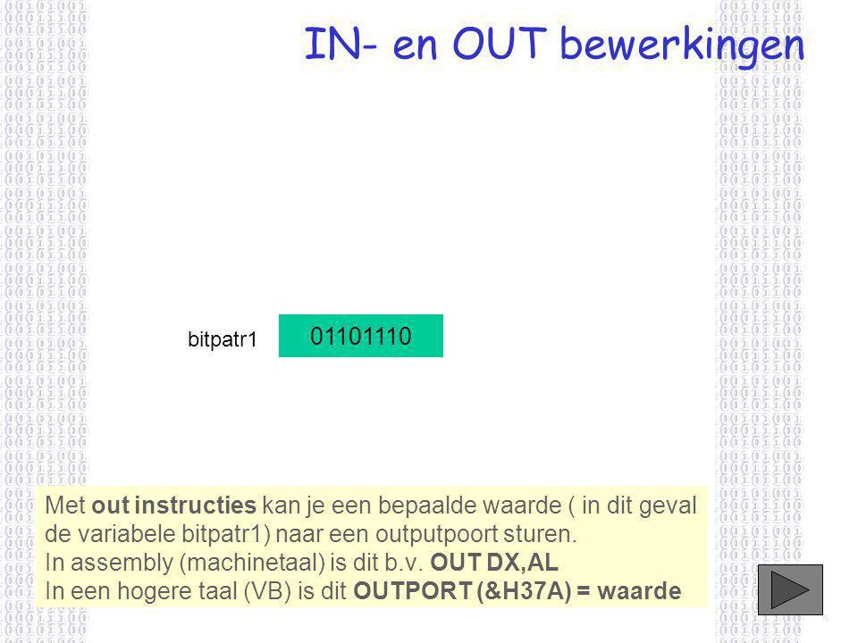 IN- en OUT bewerkingen Met out instructies kan je een bepaalde waarde ( in dit geval de variabele bitpatr1) naar een outputpoort sturen.