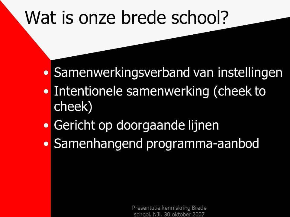 Presentatie kenniskring Brede school. NJi. 30 oktober 2007 Brede School: cheek to cheek In het wijkcombinatiegebouw La Bellettsa Maastricht