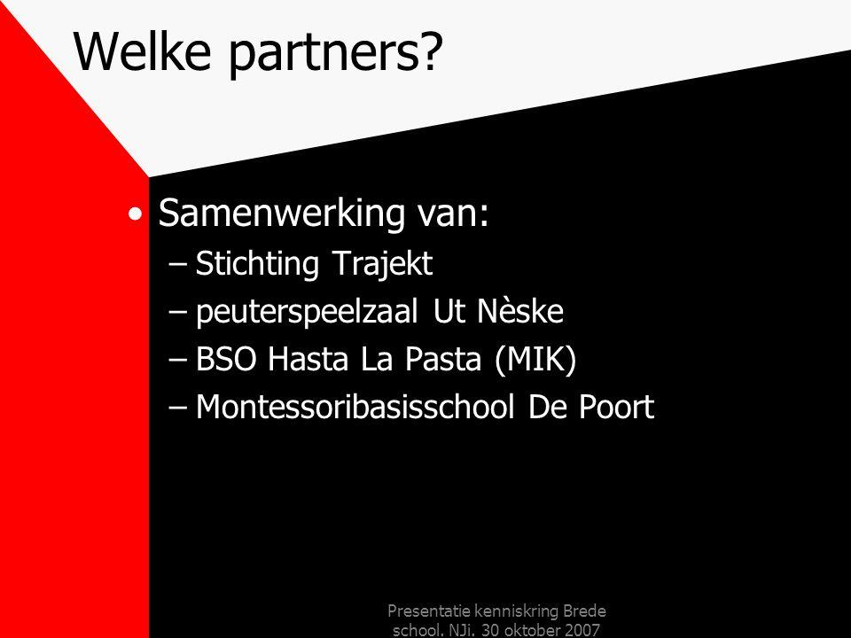Presentatie kenniskring Brede school. NJi. 30 oktober 2007 Organigram MBS De Poort Trajekt opvoedpunt Leefstijl shape-up play-kids opvoedingsondersteu
