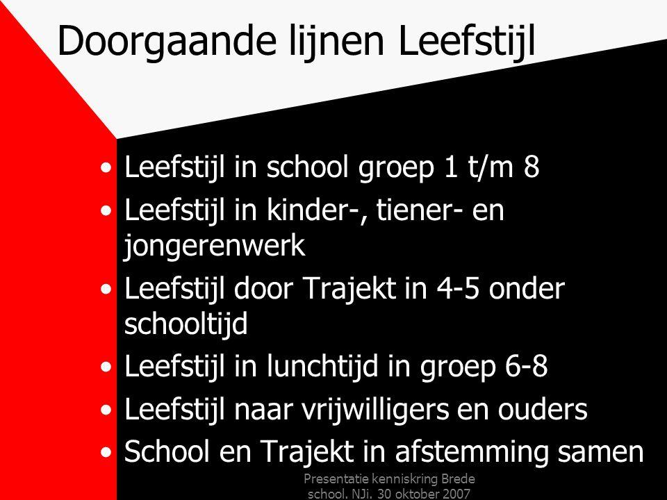 Presentatie kenniskring Brede school. NJi. 30 oktober 2007 Doorgaande lijnen jonge kind Doorgaande lijn van 2-6 jaar –ontwikkelvolgmodel Memelink –the