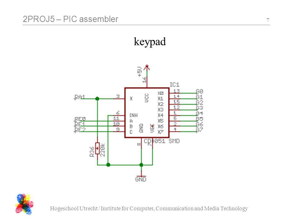 2PROJ5 – PIC assembler Hogeschool Utrecht / Institute for Computer, Communication and Media Technology 7 keypad