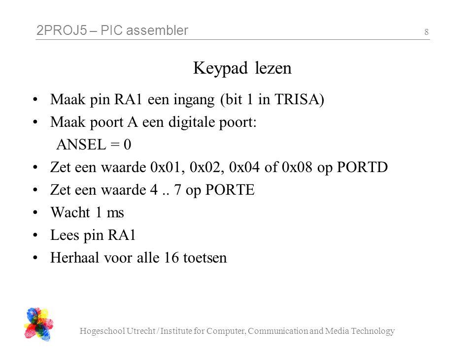 2PROJ5 – PIC assembler Hogeschool Utrecht / Institute for Computer, Communication and Media Technology 8 Keypad lezen Maak pin RA1 een ingang (bit 1 i