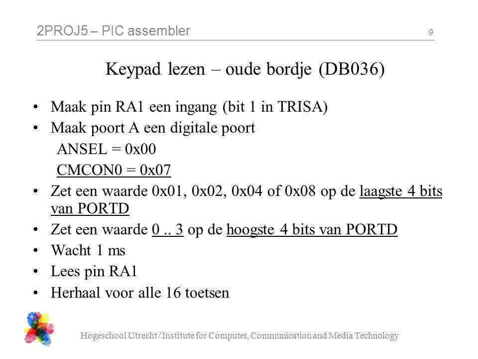 2PROJ5 – PIC assembler Hogeschool Utrecht / Institute for Computer, Communication and Media Technology 9 Keypad lezen – oude bordje (DB036) Maak pin R