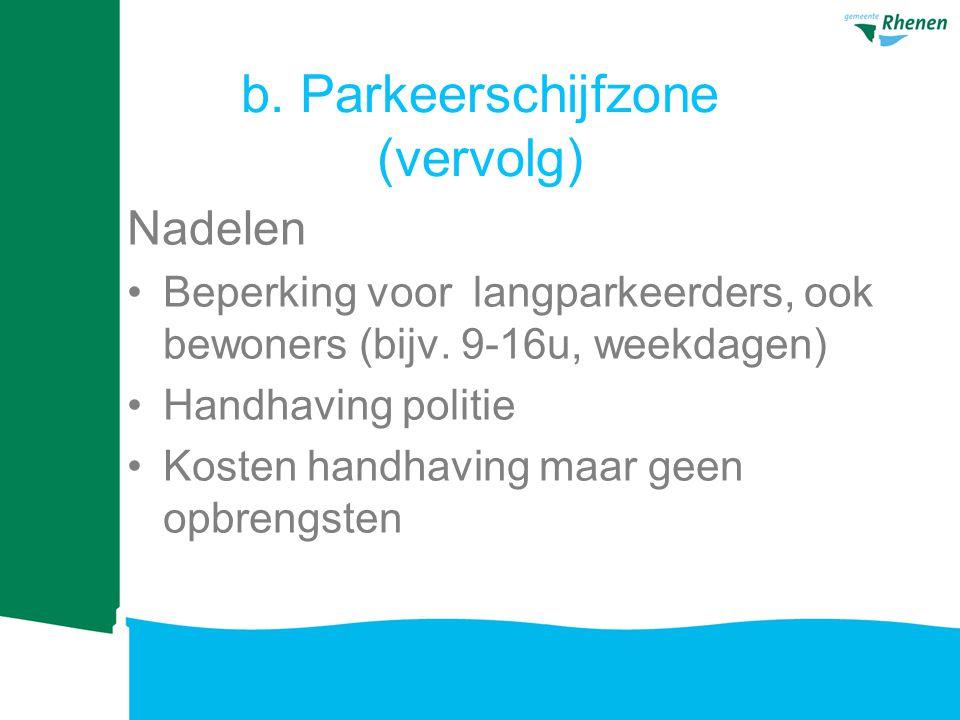 b.Parkeerschijfzone (vervolg) Nadelen Beperking voor langparkeerders, ook bewoners (bijv.