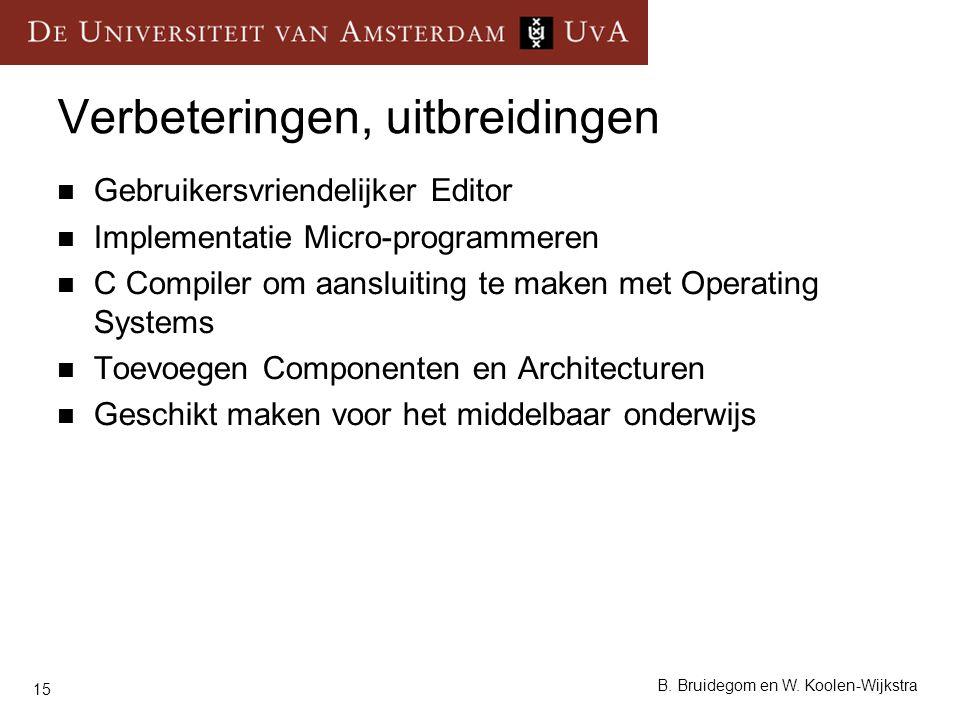 15 B. Bruidegom en W. Koolen-Wijkstra Verbeteringen, uitbreidingen Gebruikersvriendelijker Editor Implementatie Micro-programmeren C Compiler om aansl