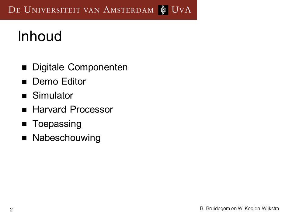 2 B. Bruidegom en W. Koolen-Wijkstra Inhoud Digitale Componenten Demo Editor Simulator Harvard Processor Toepassing Nabeschouwing