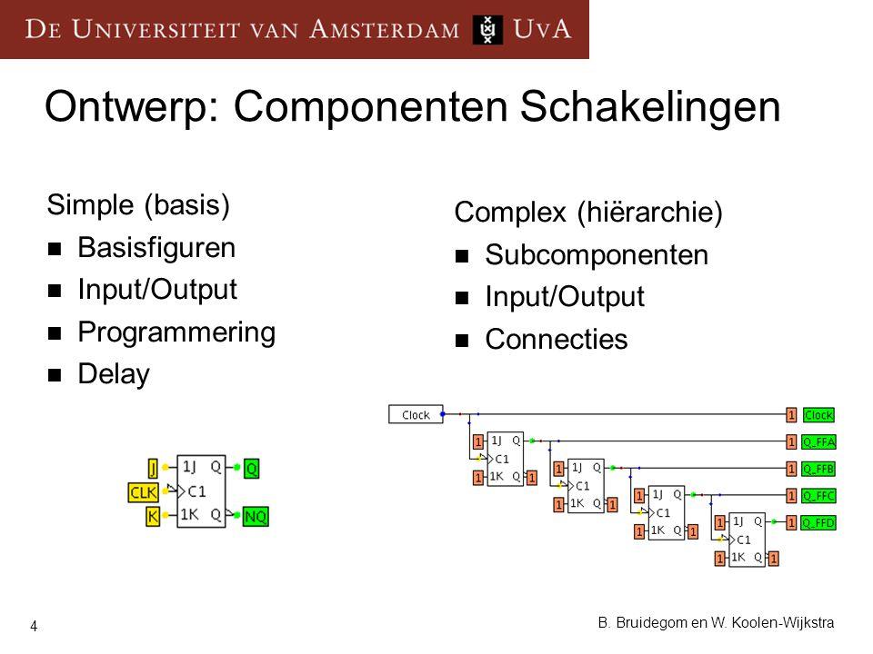 4 B. Bruidegom en W. Koolen-Wijkstra Ontwerp: Componenten Schakelingen Simple (basis) Basisfiguren Input/Output Programmering Delay Complex (hiërarchi