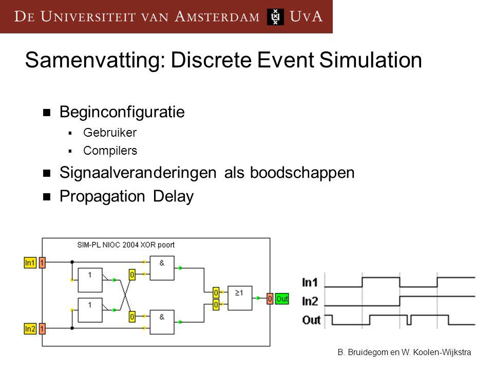 8 B. Bruidegom en W. Koolen-Wijkstra Samenvatting: Discrete Event Simulation Beginconfiguratie  Gebruiker  Compilers Signaalveranderingen als boodsc