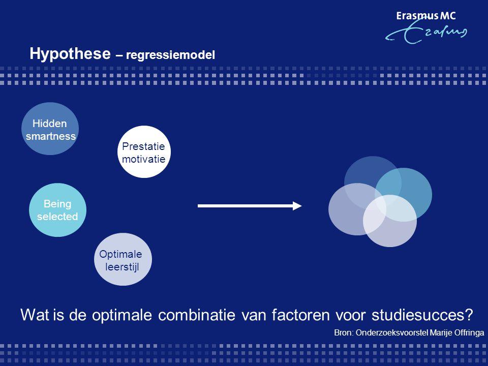 Hypothese – regressiemodel Hidden smartness Optimale leerstijl Wat is de optimale combinatie van factoren voor studiesucces? Prestatie motivatie Being