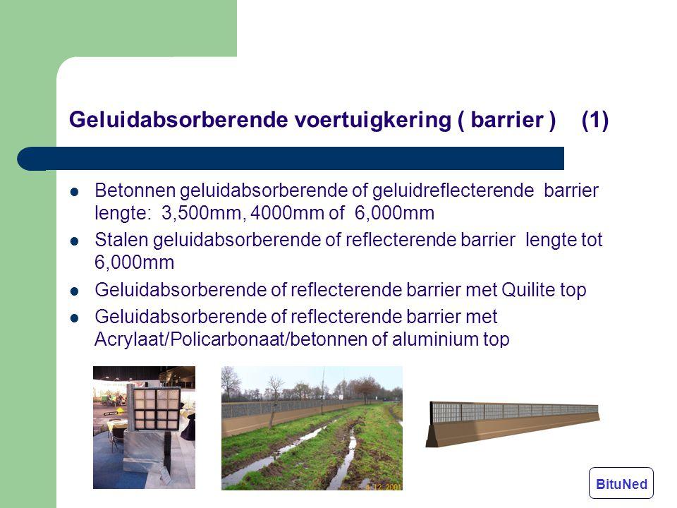 Geluidabsorberende voertuigkering ( barrier ) (1) Betonnen geluidabsorberende of geluidreflecterende barrier lengte: 3,500mm, 4000mm of 6,000mm Stalen