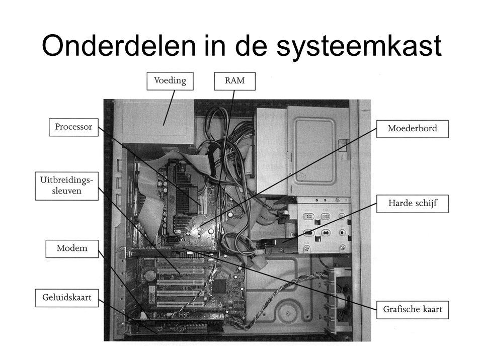 Onderdelen in de systeemkast