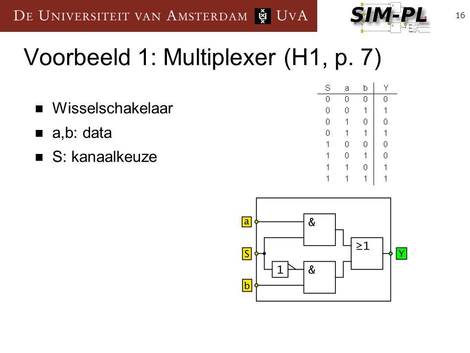 16 Voorbeeld 1: Multiplexer (H1, p. 7) Wisselschakelaar a,b: data S: kanaalkeuze
