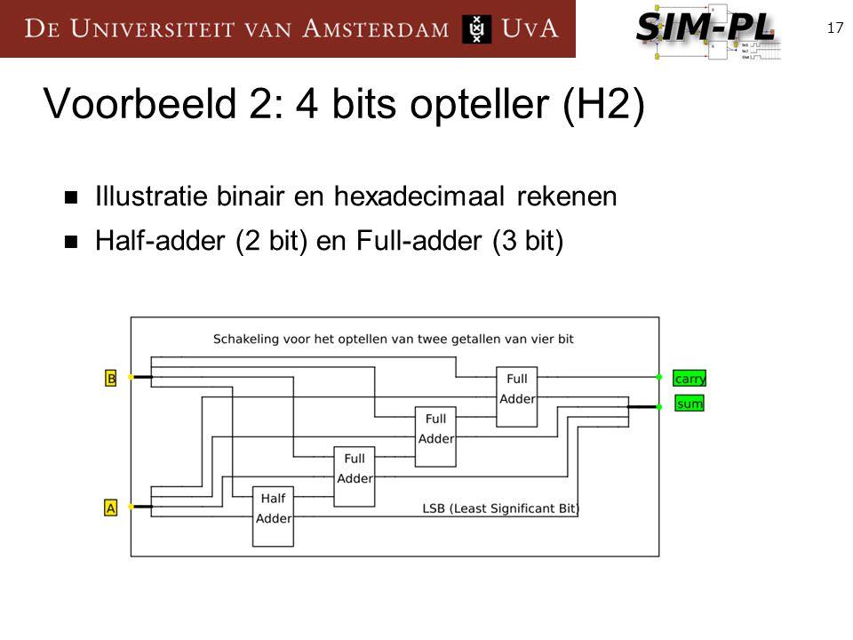 17 Voorbeeld 2: 4 bits opteller (H2) Illustratie binair en hexadecimaal rekenen Half-adder (2 bit) en Full-adder (3 bit)