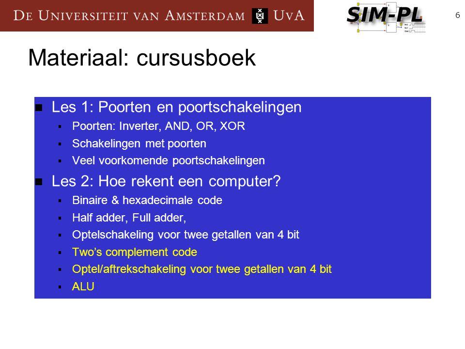 6 Materiaal: cursusboek Les 1: Poorten en poortschakelingen  Poorten: Inverter, AND, OR, XOR  Schakelingen met poorten  Veel voorkomende poortschak