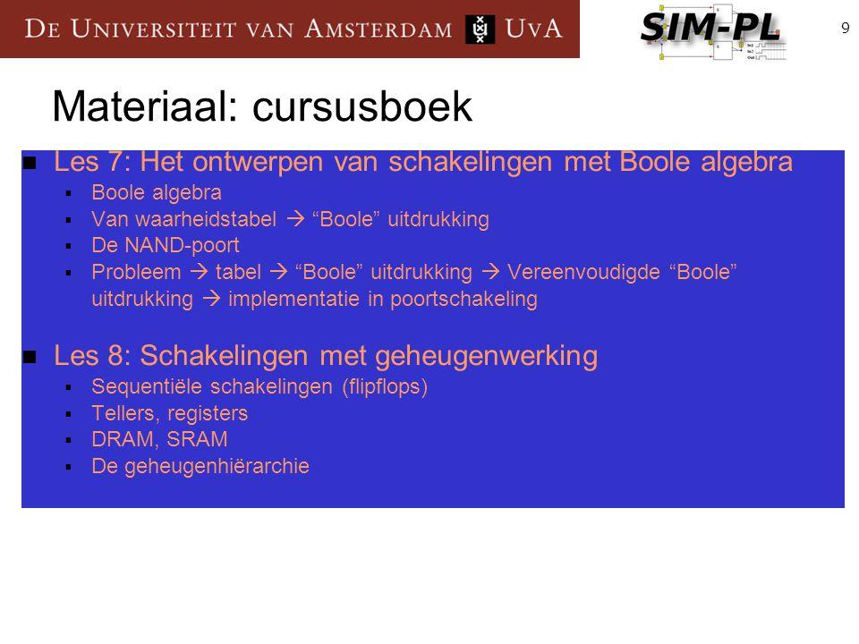 """9 Materiaal: cursusboek Les 7: Het ontwerpen van schakelingen met Boole algebra  Boole algebra  Van waarheidstabel  """"Boole"""" uitdrukking  De NAND-p"""