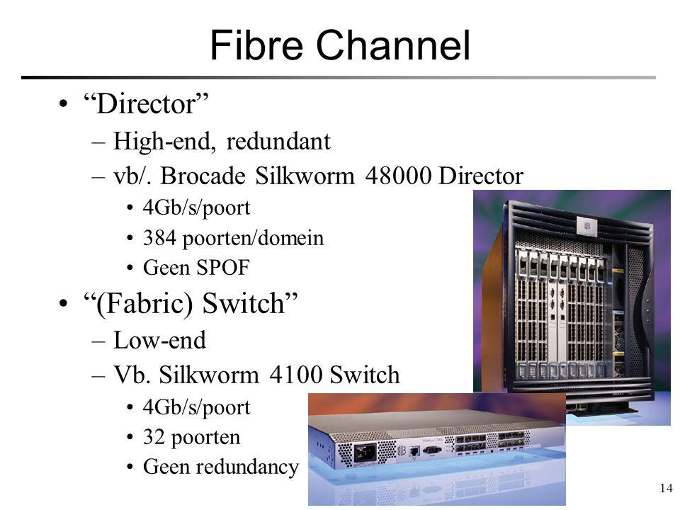 "14 Fibre Channel ""Director"" –High-end, redundant –vb/. Brocade Silkworm 48000 Director 4Gb/s/poort 384 poorten/domein Geen SPOF ""(Fabric) Switch"" –Low"