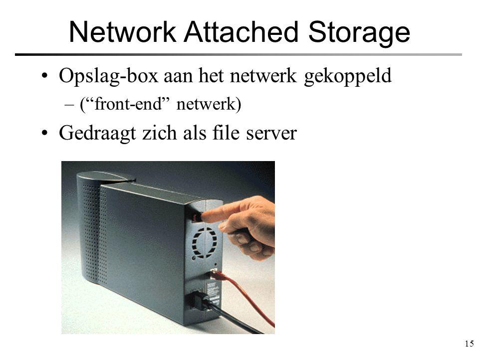 """15 Network Attached Storage Opslag-box aan het netwerk gekoppeld –(""""front-end"""" netwerk) Gedraagt zich als file server"""