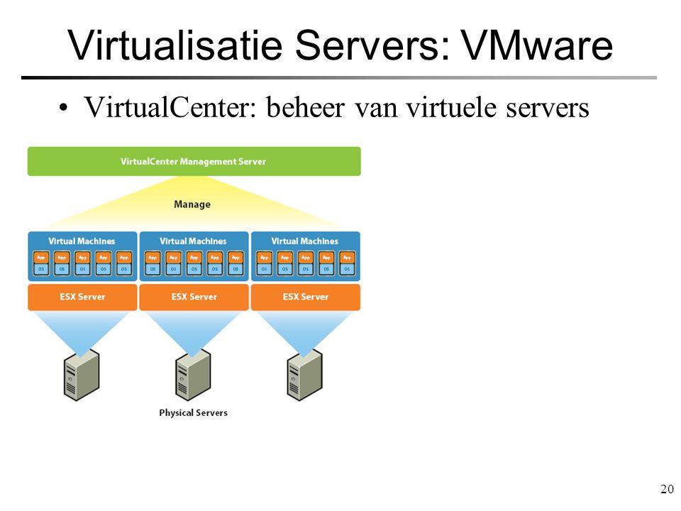 20 Virtualisatie Servers: VMware VirtualCenter: beheer van virtuele servers