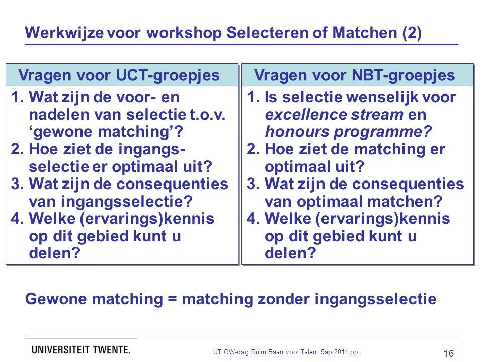 UT OW-dag Ruim Baan voor Talent 5apr2011.ppt 16 Werkwijze voor workshop Selecteren of Matchen (2) Vragen voor UCT-groepjes 1.Wat zijn de voor- en nadelen van selectie t.o.v.