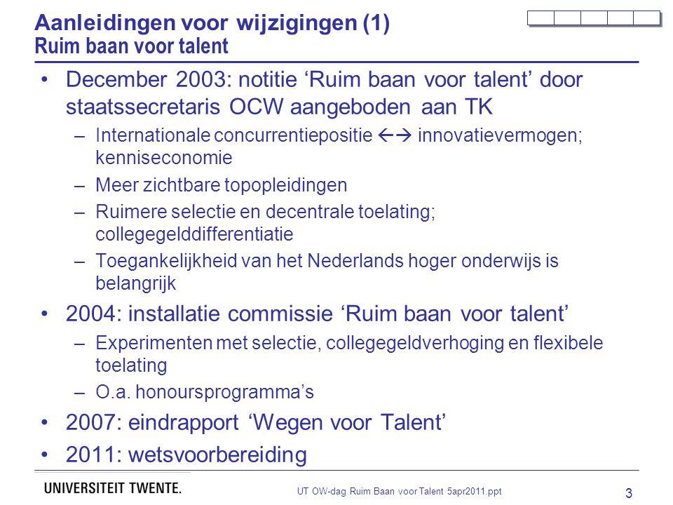 UT OW-dag Ruim Baan voor Talent 5apr2011.ppt 3 Aanleidingen voor wijzigingen (1) Ruim baan voor talent December 2003: notitie 'Ruim baan voor talent'