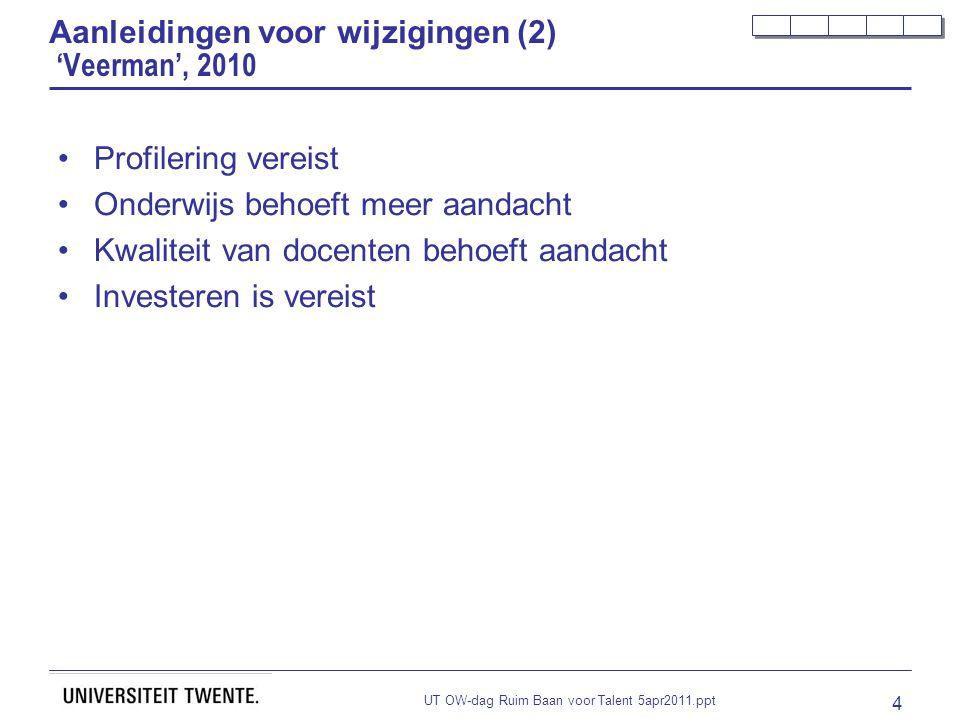 UT OW-dag Ruim Baan voor Talent 5apr2011.ppt 4 Aanleidingen voor wijzigingen (2) 'Veerman', 2010 Profilering vereist Onderwijs behoeft meer aandacht Kwaliteit van docenten behoeft aandacht Investeren is vereist