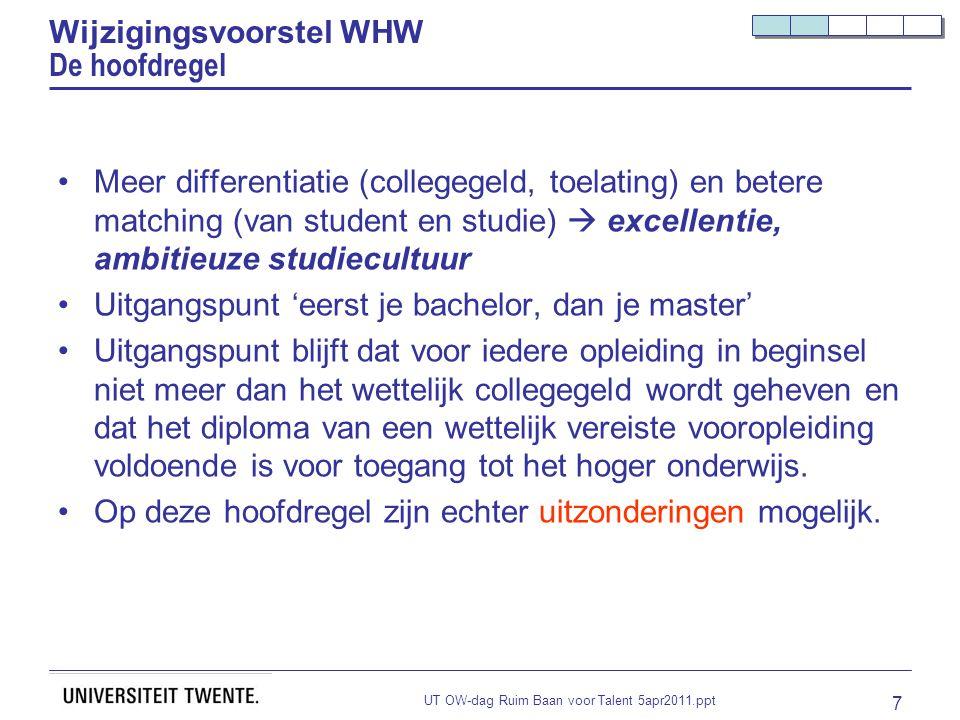 UT OW-dag Ruim Baan voor Talent 5apr2011.ppt 7 Wijzigingsvoorstel WHW De hoofdregel Meer differentiatie (collegegeld, toelating) en betere matching (v