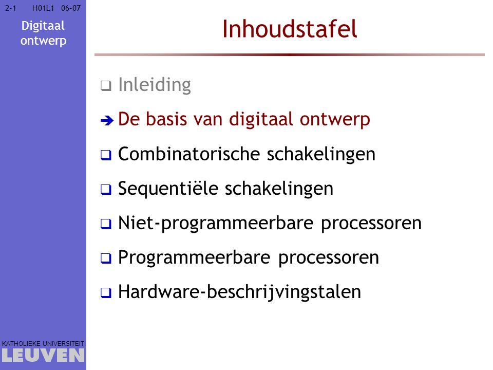 Digitaal ontwerp KATHOLIEKE UNIVERSITEIT 2-12-106–07H01L1 Inhoudstafel  Inleiding  De basis van digitaal ontwerp  Combinatorische schakelingen  Sequentiële schakelingen  Niet-programmeerbare processoren  Programmeerbare processoren  Hardware-beschrijvingstalen