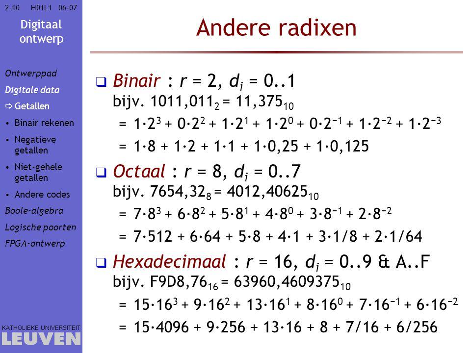 Digitaal ontwerp KATHOLIEKE UNIVERSITEIT 2-1006–07H01L1 Andere radixen  Binair : r = 2, d i = 0..1 bijv.