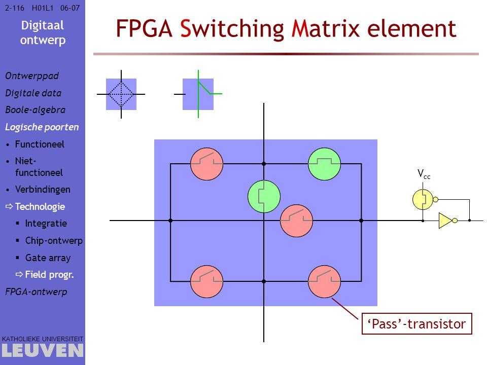 Digitaal ontwerp KATHOLIEKE UNIVERSITEIT 2-11606–07H01L1 FPGA Switching Matrix element 'Pass'-transistor V cc Ontwerppad Digitale data Boole-algebra Logische poorten Functioneel Niet- functioneel Verbindingen  Technologie  Integratie  Chip-ontwerp  Gate array  Field progr.
