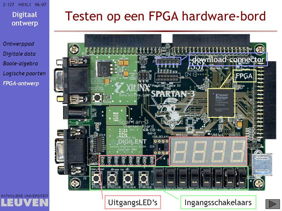 Digitaal ontwerp KATHOLIEKE UNIVERSITEIT 2-12706–07H01L1 Testen op een FPGA hardware-bord FPGA Ingangsschakelaars UitgangsLED's download-connector Ontwerppad Digitale data Boole-algebra Logische poorten FPGA-ontwerp