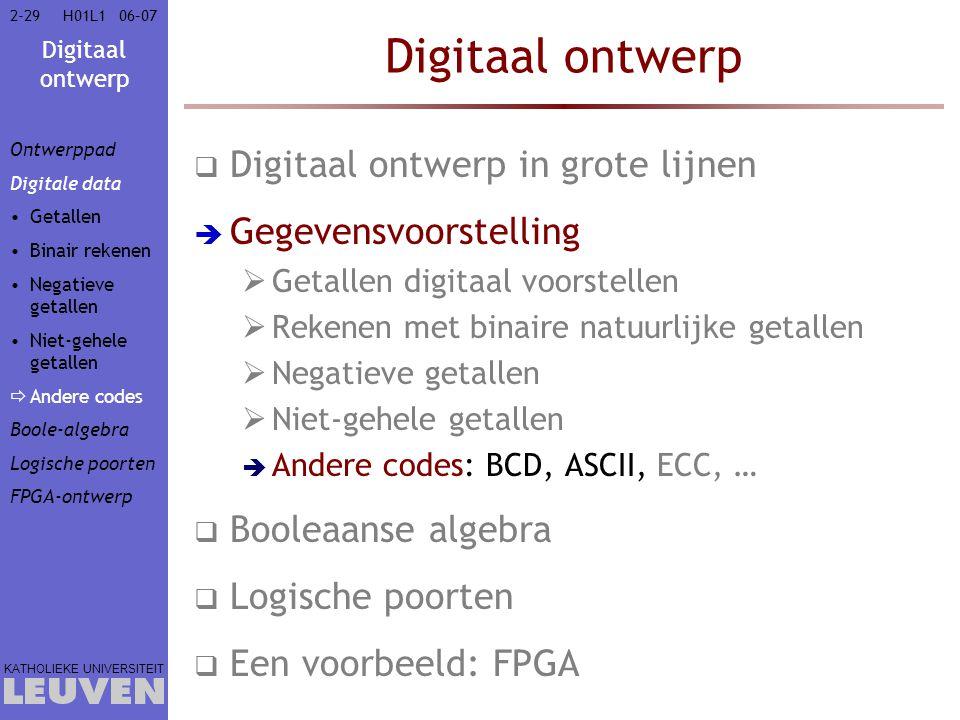 Digitaal ontwerp KATHOLIEKE UNIVERSITEIT 2-2906–07H01L1 Digitaal ontwerp  Digitaal ontwerp in grote lijnen  Gegevensvoorstelling  Getallen digitaal voorstellen  Rekenen met binaire natuurlijke getallen  Negatieve getallen  Niet-gehele getallen  Andere codes: BCD, ASCII, ECC, …  Booleaanse algebra  Logische poorten  Een voorbeeld: FPGA Ontwerppad Digitale data Getallen Binair rekenen Negatieve getallen Niet-gehele getallen  Andere codes Boole-algebra Logische poorten FPGA-ontwerp
