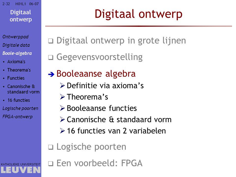Digitaal ontwerp KATHOLIEKE UNIVERSITEIT 2-3206–07H01L1 Digitaal ontwerp  Digitaal ontwerp in grote lijnen  Gegevensvoorstelling  Booleaanse algebra  Definitie via axioma's  Theorema's  Booleaanse functies  Canonische & standaard vorm  16 functies van 2 variabelen  Logische poorten  Een voorbeeld: FPGA Ontwerppad Digitale data Boole-algebra Axioma s Theorema s Functies Canonische & standaard vorm 16 functies Logische poorten FPGA-ontwerp