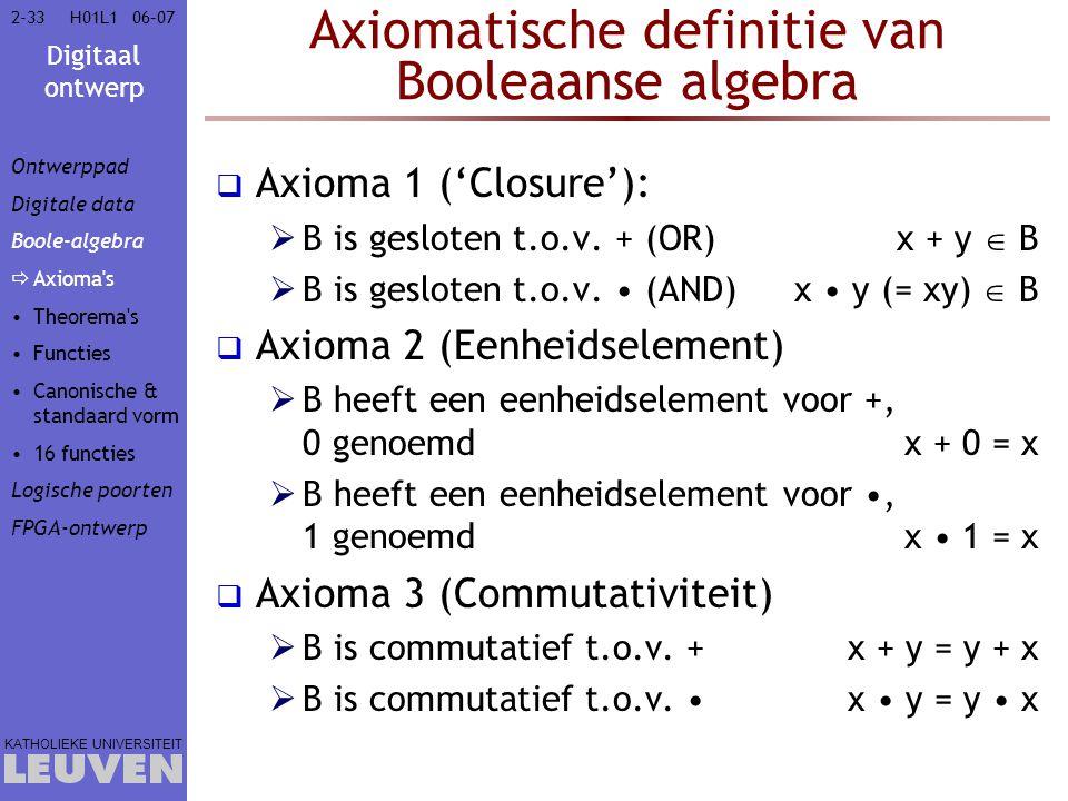 Digitaal ontwerp KATHOLIEKE UNIVERSITEIT 2-3306–07H01L1 Axiomatische definitie van Booleaanse algebra  Axioma 1 ('Closure'):  B is gesloten t.o.v.