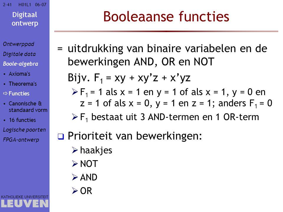 Digitaal ontwerp KATHOLIEKE UNIVERSITEIT 2-4106–07H01L1 Booleaanse functies =uitdrukking van binaire variabelen en de bewerkingen AND, OR en NOT Bijv.