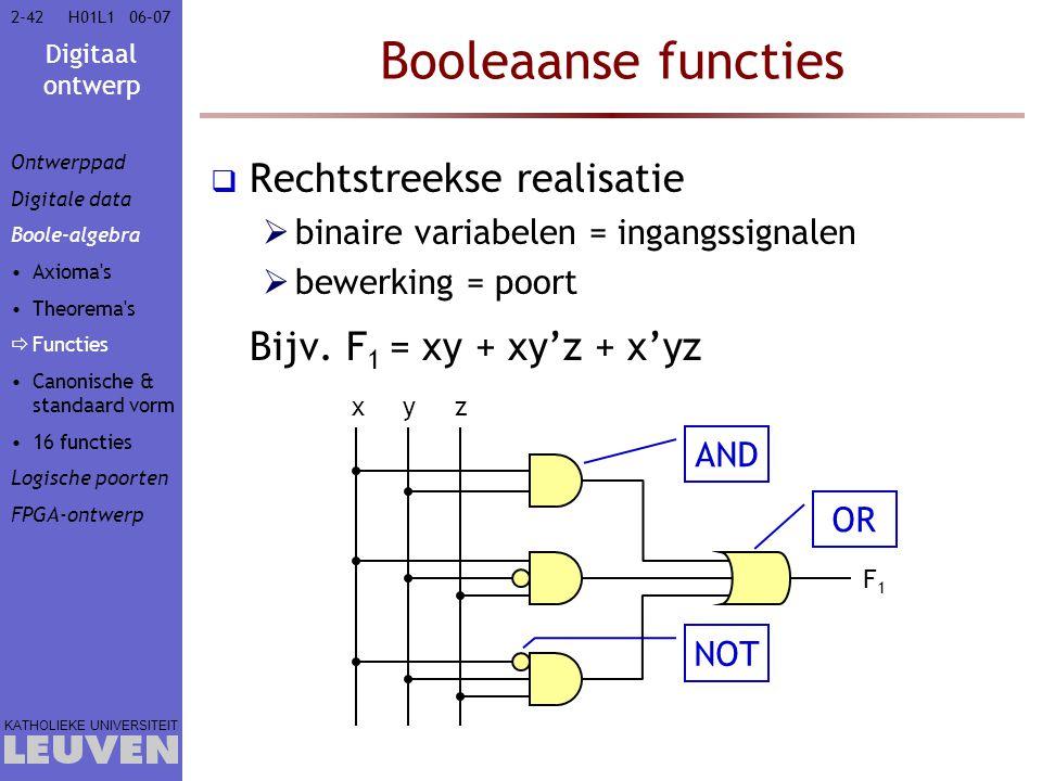 Digitaal ontwerp KATHOLIEKE UNIVERSITEIT 2-4206–07H01L1 Booleaanse functies  Rechtstreekse realisatie  binaire variabelen = ingangssignalen  bewerking = poort Bijv.