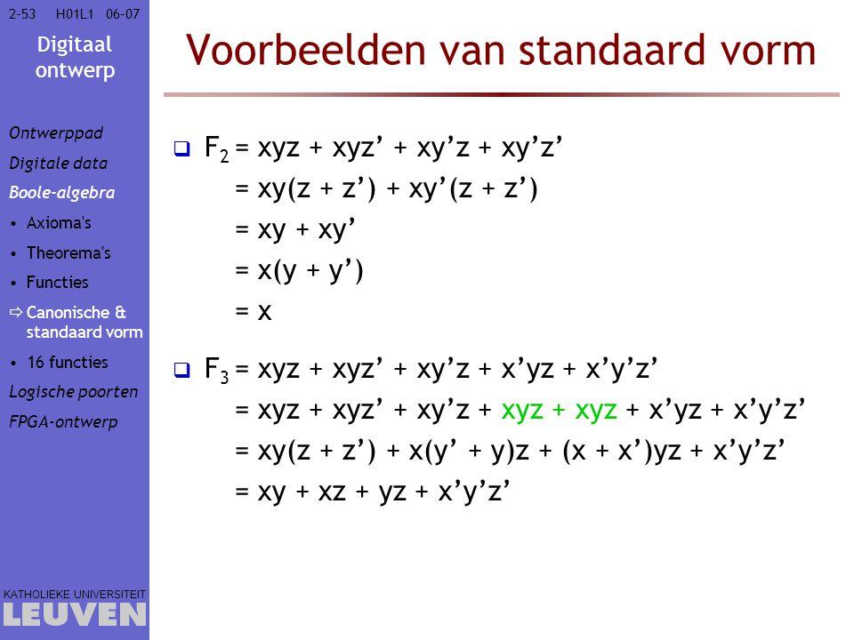 Digitaal ontwerp KATHOLIEKE UNIVERSITEIT 2-5306–07H01L1 Voorbeelden van standaard vorm  F 2 = xyz + xyz' + xy'z + xy'z' = xy(z + z') + xy'(z + z') = xy + xy' = x(y + y') = x  F 3 = xyz + xyz' + xy'z + x'yz + x'y'z' = xyz + xyz' + xy'z + xyz + xyz + x'yz + x'y'z' = xy(z + z') + x(y' + y)z + (x + x')yz + x'y'z' = xy + xz + yz + x'y'z' Ontwerppad Digitale data Boole-algebra Axioma s Theorema s Functies  Canonische & standaard vorm 16 functies Logische poorten FPGA-ontwerp