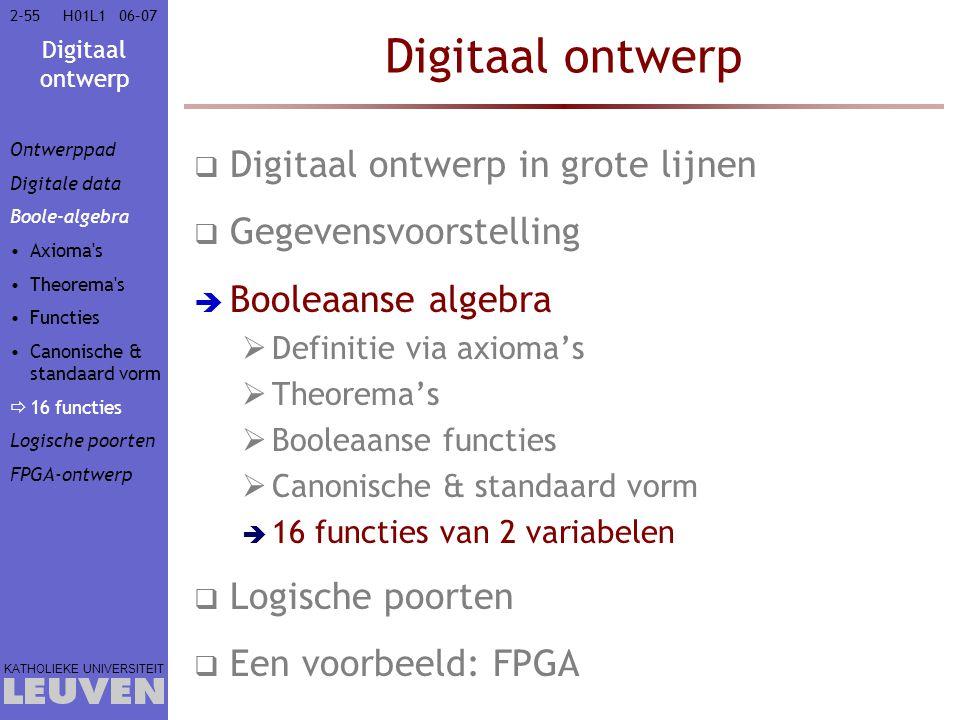 Digitaal ontwerp KATHOLIEKE UNIVERSITEIT 2-5506–07H01L1 Digitaal ontwerp  Digitaal ontwerp in grote lijnen  Gegevensvoorstelling  Booleaanse algebra  Definitie via axioma's  Theorema's  Booleaanse functies  Canonische & standaard vorm  16 functies van 2 variabelen  Logische poorten  Een voorbeeld: FPGA Ontwerppad Digitale data Boole-algebra Axioma s Theorema s Functies Canonische & standaard vorm  16 functies Logische poorten FPGA-ontwerp