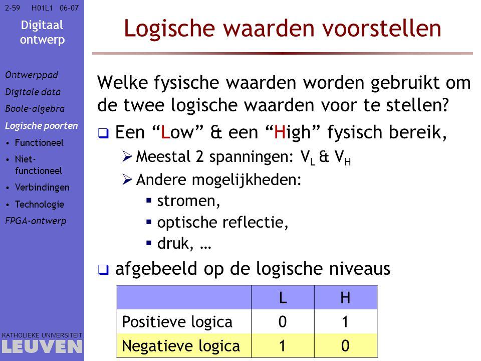Digitaal ontwerp KATHOLIEKE UNIVERSITEIT 2-5906–07H01L1 Logische waarden voorstellen Welke fysische waarden worden gebruikt om de twee logische waarden voor te stellen.