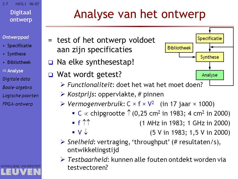 Digitaal ontwerp KATHOLIEKE UNIVERSITEIT 2-72-706–07H01L1 Analyse van het ontwerp =test of het ontwerp voldoet aan zijn specificaties  Na elke synthesestap.