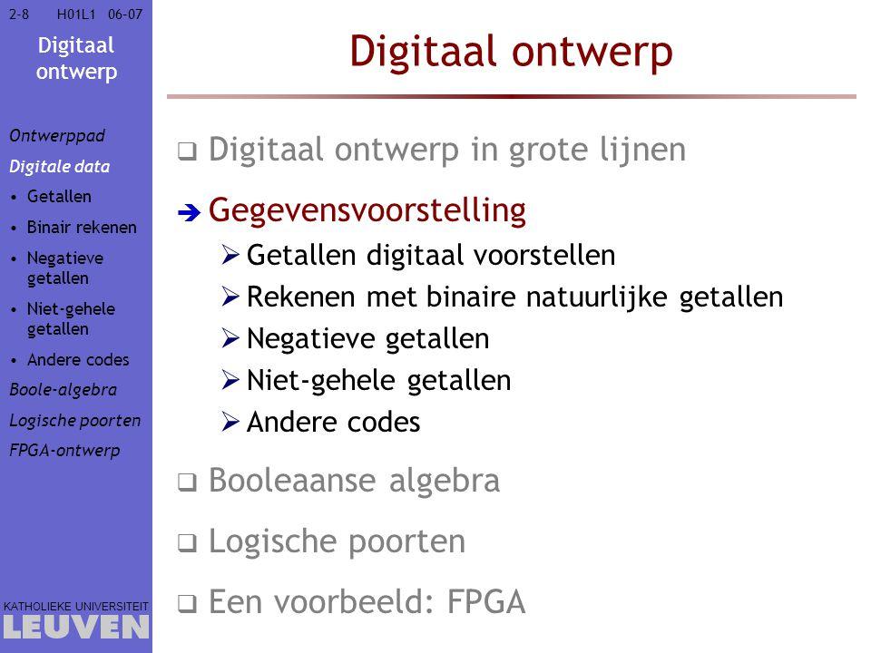 Digitaal ontwerp KATHOLIEKE UNIVERSITEIT 2-82-806–07H01L1 Digitaal ontwerp  Digitaal ontwerp in grote lijnen  Gegevensvoorstelling  Getallen digitaal voorstellen  Rekenen met binaire natuurlijke getallen  Negatieve getallen  Niet-gehele getallen  Andere codes  Booleaanse algebra  Logische poorten  Een voorbeeld: FPGA Ontwerppad Digitale data Getallen Binair rekenen Negatieve getallen Niet-gehele getallen Andere codes Boole-algebra Logische poorten FPGA-ontwerp