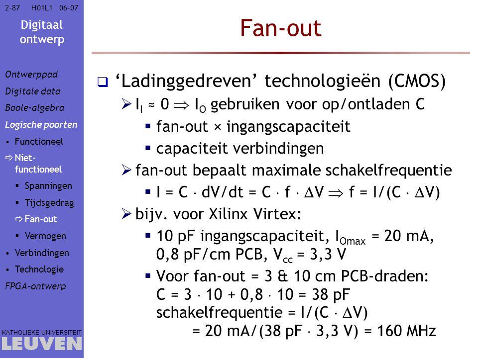 Digitaal ontwerp KATHOLIEKE UNIVERSITEIT 2-8706–07H01L1 Fan-out  'Ladinggedreven' technologieën (CMOS)  I I ≈ 0  I O gebruiken voor op/ontladen C  fan-out × ingangscapaciteit  capaciteit verbindingen  fan-out bepaalt maximale schakelfrequentie  I = C  dV/dt = C  f   V  f = I/(C   V)  bijv.