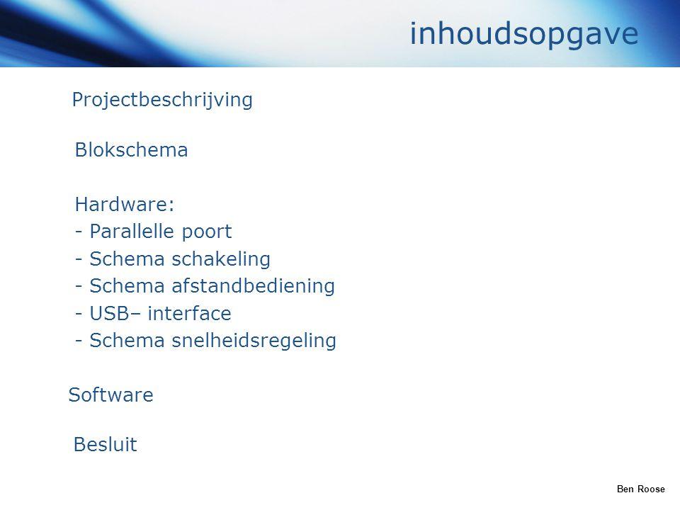 inhoudsopgave Projectbeschrijving Blokschema Hardware: - Parallelle poort - Schema schakeling - Schema afstandbediening - USB– interface - Schema snel