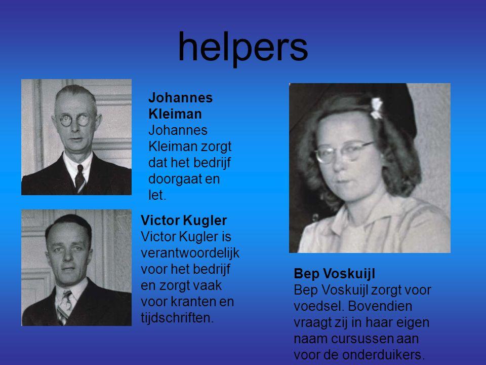 helpers Johannes Kleiman Johannes Kleiman zorgt dat het bedrijf doorgaat en let. Victor Kugler Victor Kugler is verantwoordelijk voor het bedrijf en z