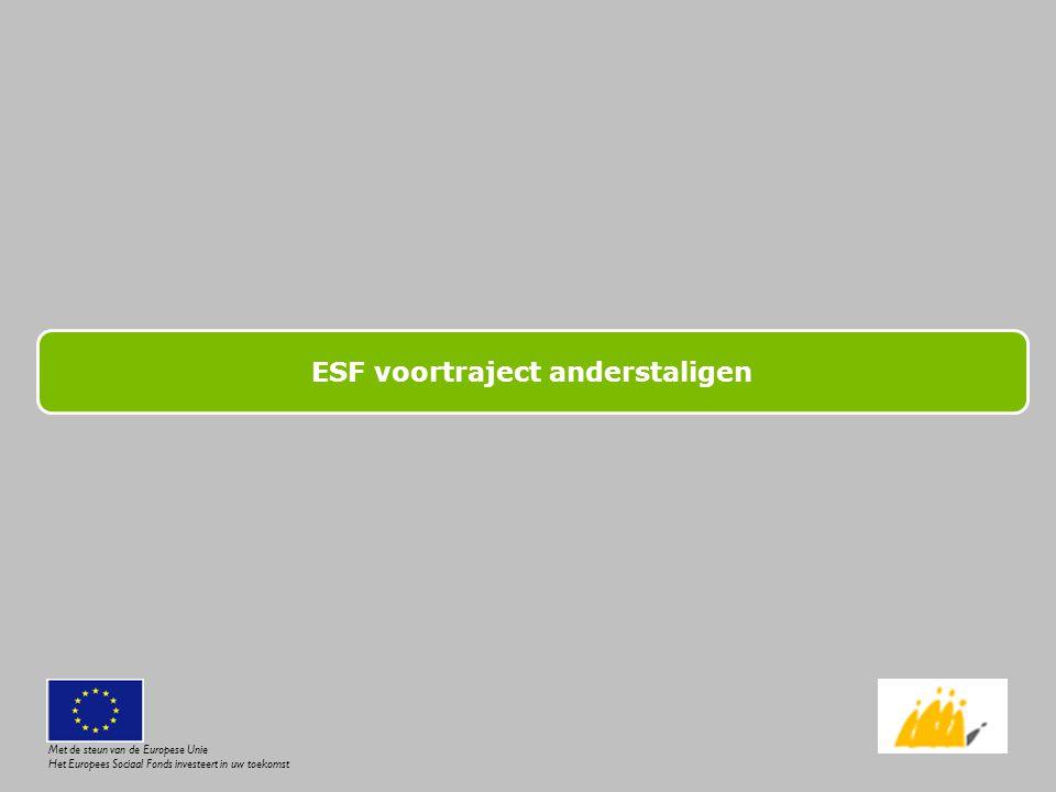 Voortraject - WERKWIJZE ASSESSMENT - Deel 2: beroepsproeven Afhankelijk van de interesse van de deelnemer: Groep 1: metselen, plamuren, elektriciteit, sanitair, schilderen Groep 2: overleg, affiche ontwerpen, boodschappen doen (omgaan met geld, lezen, lijst opstellen, …), kookopdracht Oriëntering Met de steun van de Europese Unie Het Europees Sociaal Fonds investeert in uw toekomst