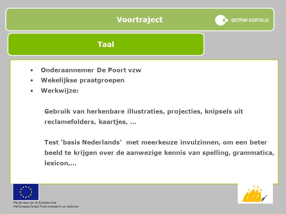 Voortraject Onderaannemer De Poort vzw Wekelijkse praatgroepen Werkwijze: Gebruik van herkenbare illustraties, projecties, knipsels uit reclamefolders