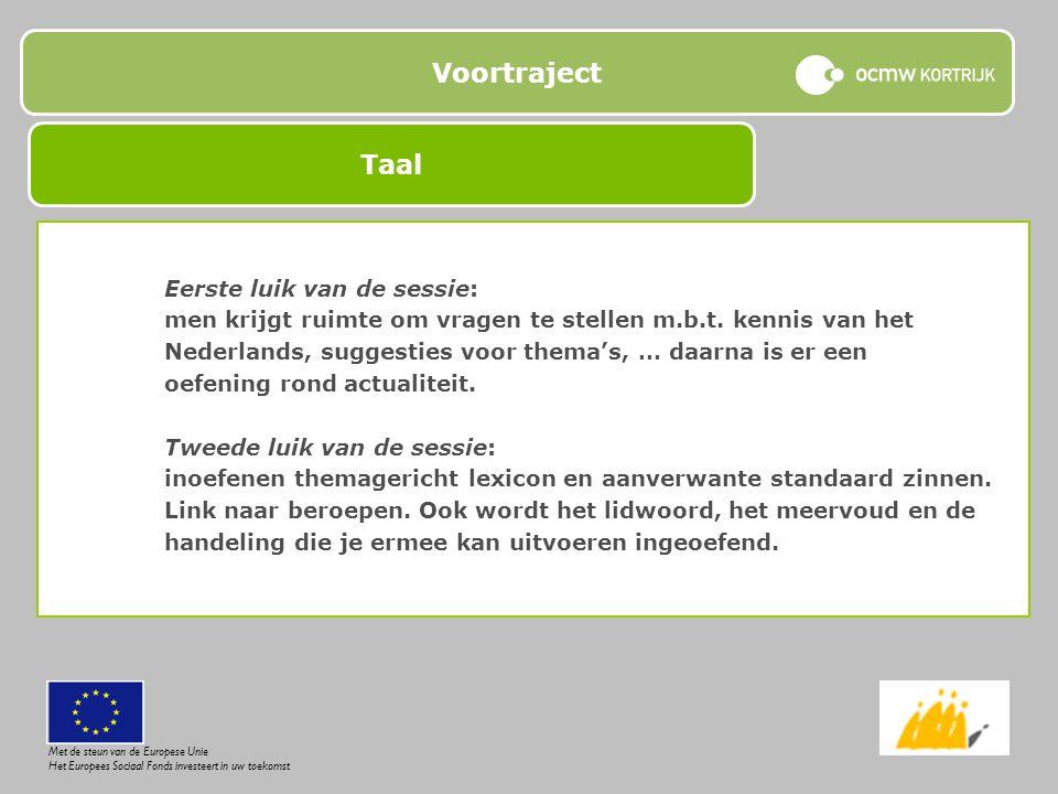 Voortraject Eerste luik van de sessie: men krijgt ruimte om vragen te stellen m.b.t. kennis van het Nederlands, suggesties voor thema's, … daarna is e