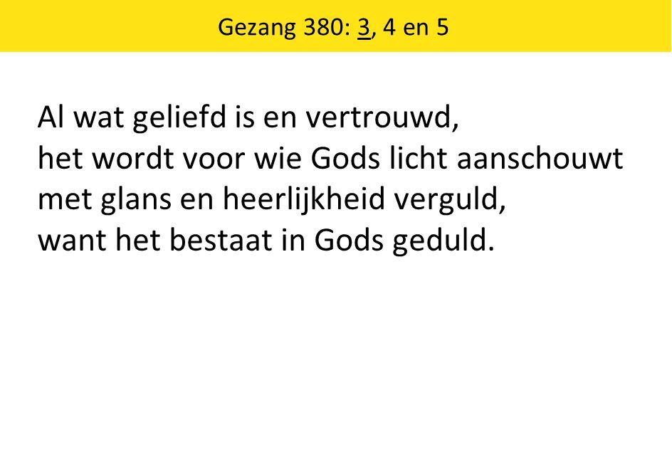Al wat geliefd is en vertrouwd, het wordt voor wie Gods licht aanschouwt met glans en heerlijkheid verguld, want het bestaat in Gods geduld. Gezang 38