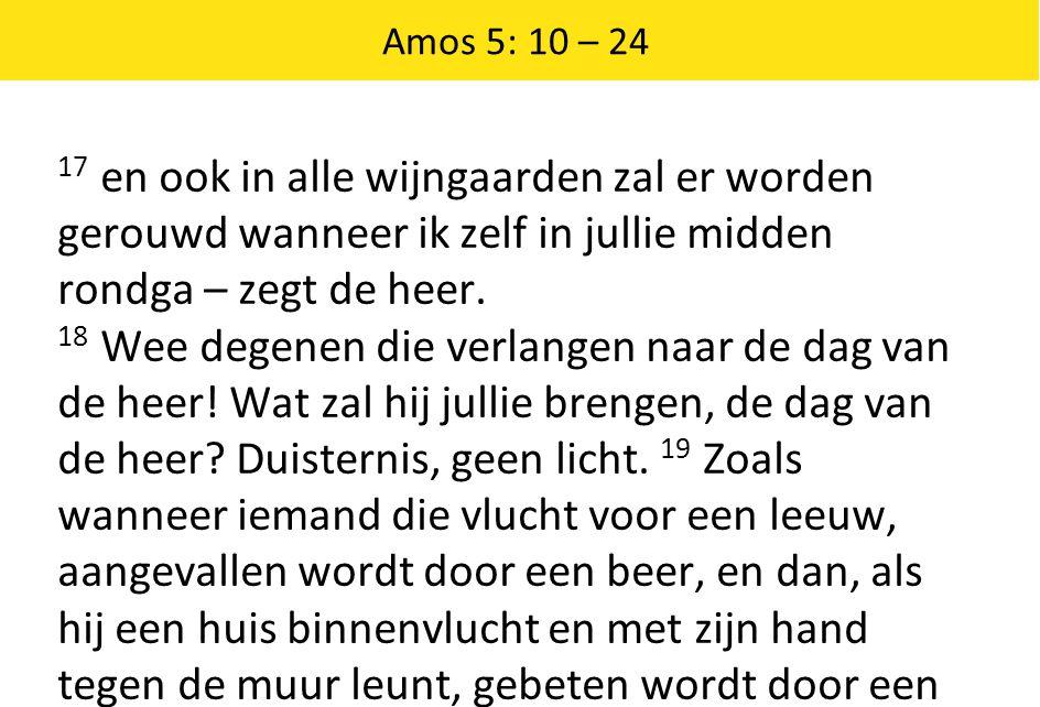 Amos 5: 10 – 24 17 en ook in alle wijngaarden zal er worden gerouwd wanneer ik zelf in jullie midden rondga – zegt de heer. 18 Wee degenen die verlang